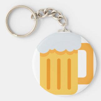 Beer time emoji basic round button keychain