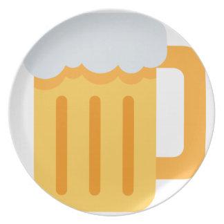 Beer time emoji party plate