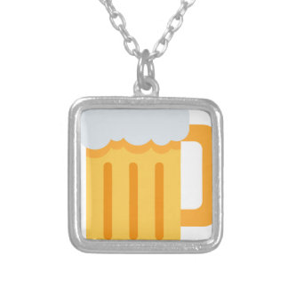Beer time emoji silver plated necklace