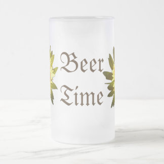 Beer Time Yellow Flowers Frosted Mug
