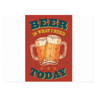 Beer today, vintage postcard