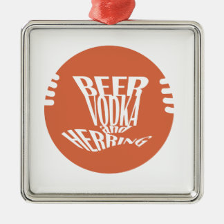 beer vodka and herring Silver-Colored square ornament
