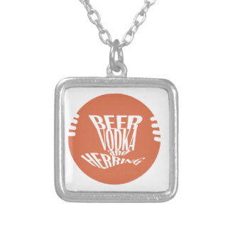 beer vodka and herring silver plated necklace
