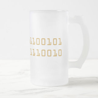 Beer written in binary code frosted stein