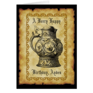 Beery Happy Birthday  Antique Beer Stein Vintage Card