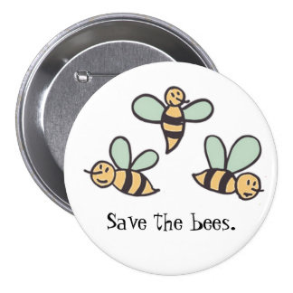 Bees 3 Inch Round Button