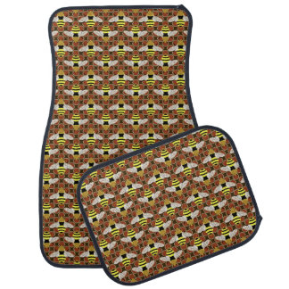 Bees and Honeycomb Graphic Pattern Car Mat