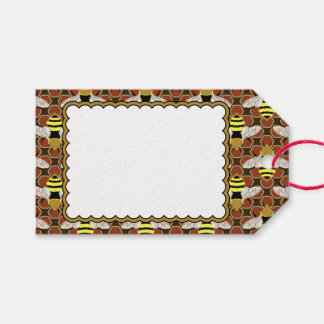 Bees and Honeycomb Pattern Pack Of Gift Tags