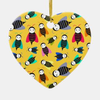 bees animal pattern ceramic ornament