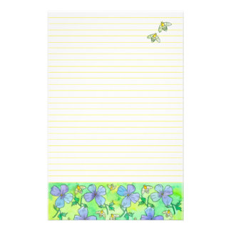 Bees Blossoms Yellow Lined Stationery