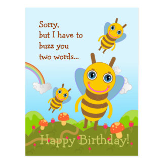 Bees buzz Happy Birthday Postcard