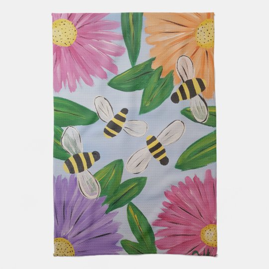 Bees & Flowers Kitchen Towels