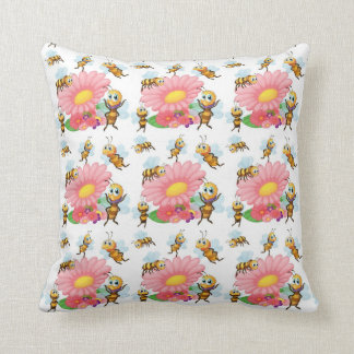 Bees Flying Around Spring Flowers Throw Pillow