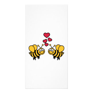 Bees hearts love personalized photo card