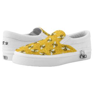 Bees Honeycomb Honeybee Beehive Pattern | Monogram Slip-On Sneakers