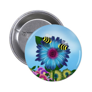 Bees Meeting in the Garden 2 Inch Round Button