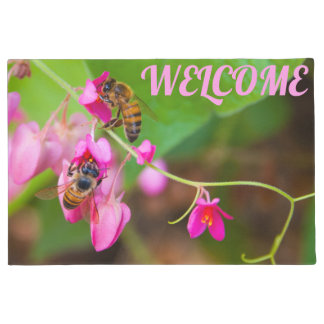 Bees On Coral Vine Flowers Photograph Doormat