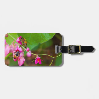 Bees On Coral Vine Flowers Photograph Luggage Tag