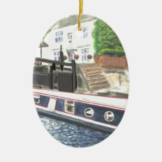 Beeston Canal Lock House Nottingham Ceramic Oval Ornament