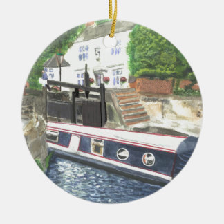 Beeston Canal Lock House Nottingham Round Ceramic Ornament