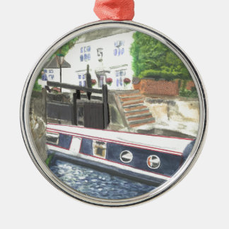 Beeston Canal Lock House Nottingham Silver-Colored Round Ornament