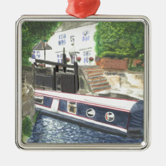 Beeston Canal Lock House Nottingham Silver-Colored Square Ornament