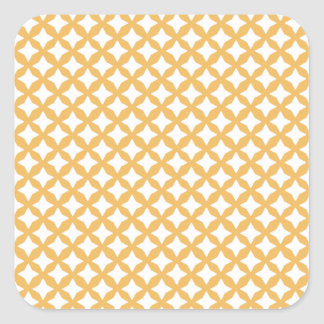 Beeswax Color And White Seamless Mesh Pattern Square Sticker