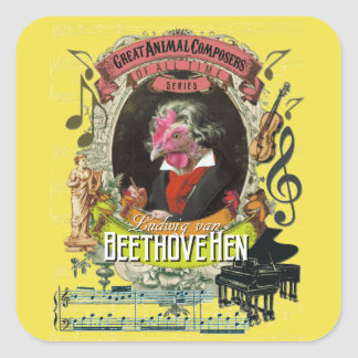 Beethovehen Hen Animal Composers Beethoven Square Sticker