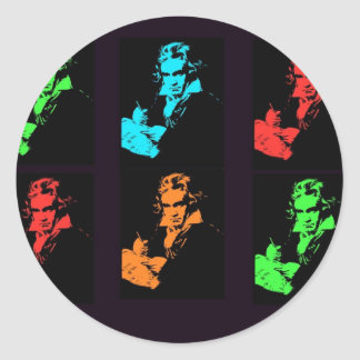 Beethoven Collage Classic Round Sticker