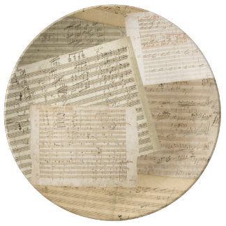 Beethoven Music Manuscript Medley Porcelain Plates