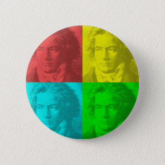 Beethoven Portrait In Squares 2 Inch Round Button