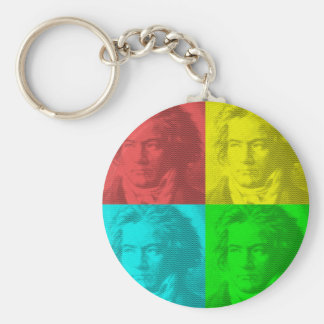 Beethoven Portrait In Squares Keychain