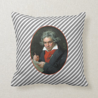 Beethoven Portrait Vintage Reversible Throw Pillow