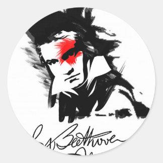 Beethoven Punk Classic Round Sticker