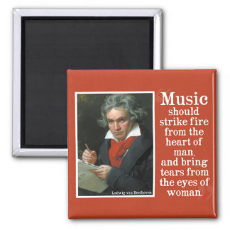 Beethoven Quote on the power of Music Square Magnet