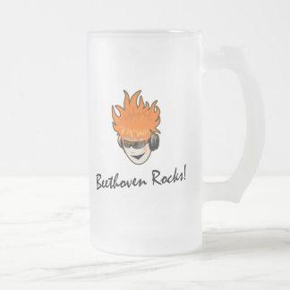 Beethoven Rocks! 16 Oz Frosted Glass Beer Mug