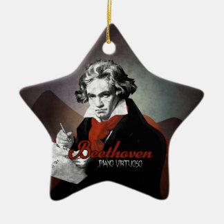 Beethoven virtuous piano black ceramic star ornament