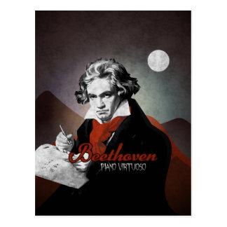Beethoven virtuous piano black postcard