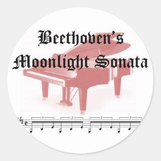 beethovens moonlight sonata  gifts round sticker