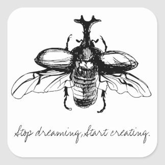 Beetle dream square sticker