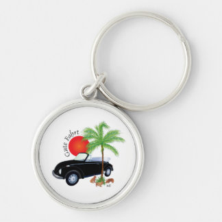 Beetle good trip key supporter Silver-Colored round keychain