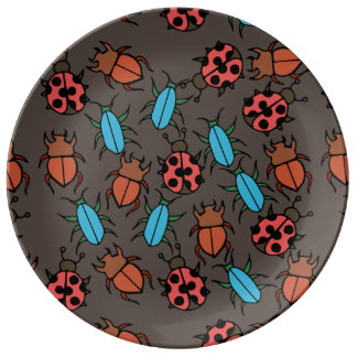 Beetles and Ladybug pattern bug lover Porcelain Plate