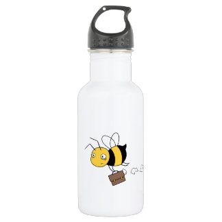 Beezness Bee, Tired Stressed Bee Holding Briefcase 532 Ml Water Bottle