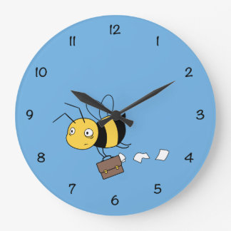 Beezness Bee, Tired Stressed Bee Holding Briefcase Large Clock