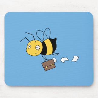 Beezness Bee, Tired Stressed Bee Holding Briefcase Mouse Pad
