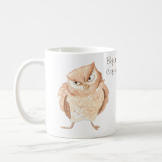 Before and After Coffee Angry Owl Watercolor Coffee Mug