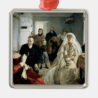 Before the Wedding, 1880s Silver-Colored Square Ornament
