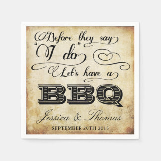 Before They Say I Do Lets Have A BBQ! - Vintage Disposable Napkins