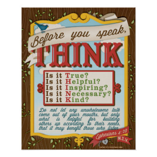 Before You Speak, T.H.I.N.K. Poster