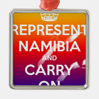 BeFunky_represent-namibia-and-carry-on Silver-Colored Square Ornament